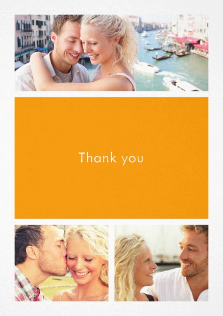Thank you card with three photo fields and a text field in various colors. Yellow.