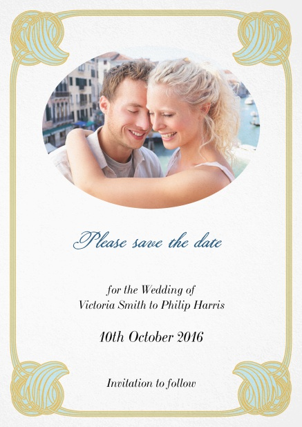 Wedding save the date with oval photo field and art-nouveau shell corners.