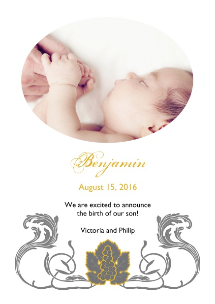 Online Birth announcement photo card with swirll art-nouveau illustration.