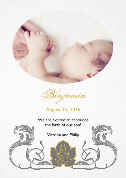 Birth announcement photo card with swirll art-nouveau illustration.