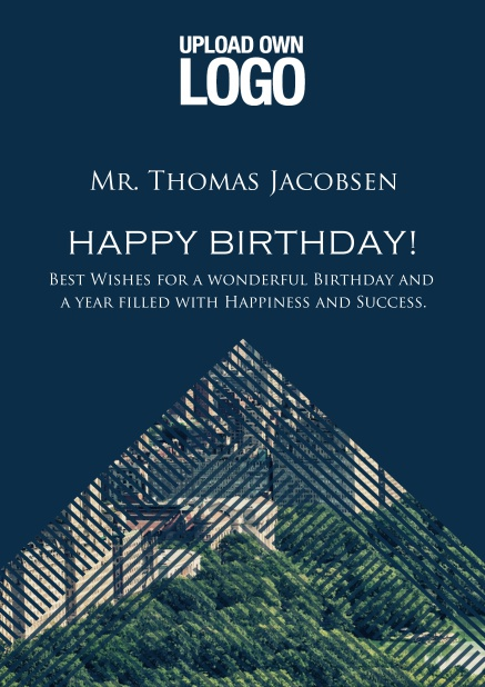 Online Dark Corporate Birthday greeting card trianglular photo field with lines.