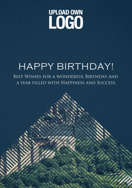 Dark Corporate Birthday greeting card trianglular photo field with lines.