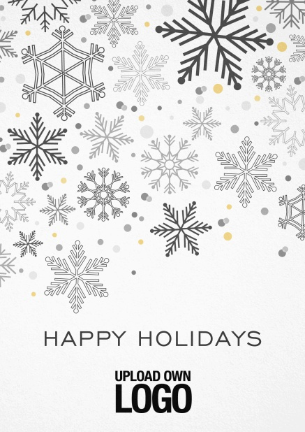Corporate Christmas card in various colors, with snow flakes, text and logo option. Black.