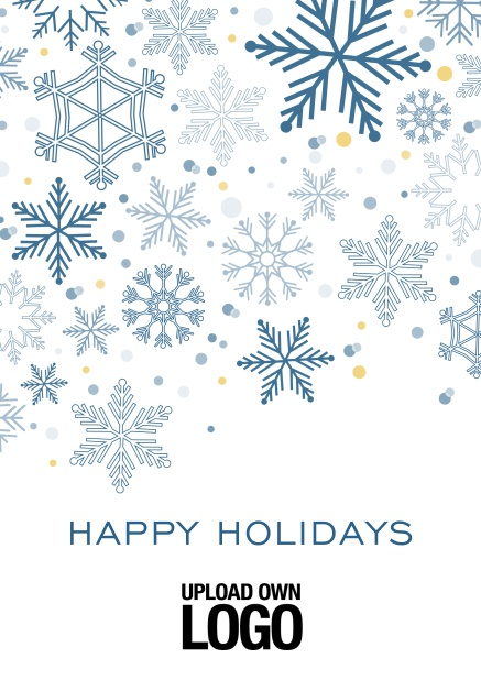 Online Corporate Christmas card in various colors, with snow flakes, text and logo option. Blue.