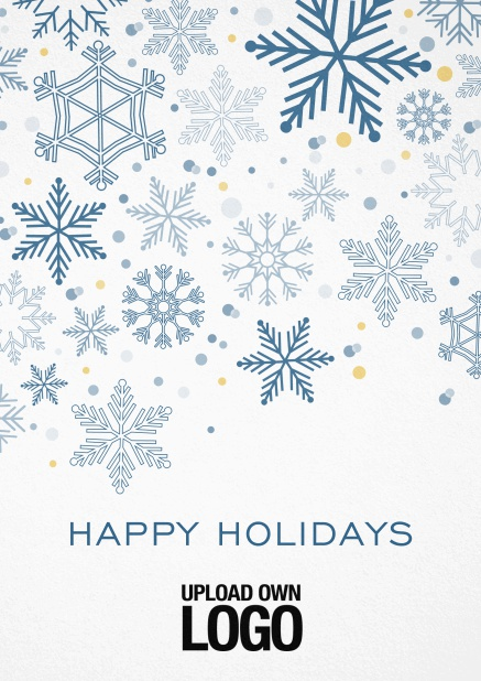 Corporate Christmas card in various colors, with snow flakes, text and logo option. Blue.