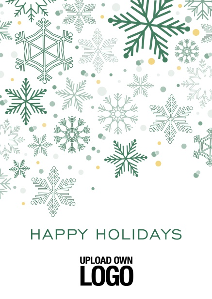 Online Corporate Christmas card in various colors, with snow flakes, text and logo option. Green.