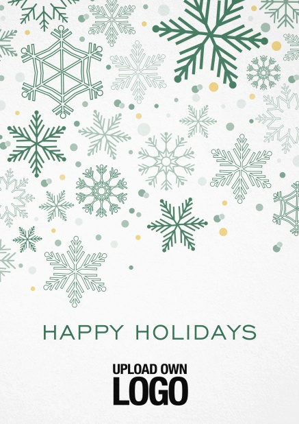 Corporate Christmas card in various colors, with snow flakes, text and logo option. Green.