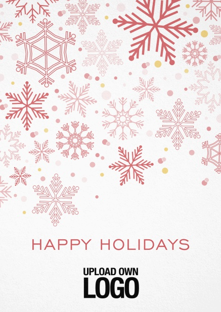 Corporate Christmas card in various colors, with snow flakes, text and logo option. Red.