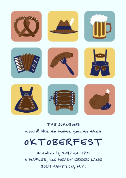 Online Invitation card for Oktoberfest celebrations with 9 classic images, e.g. beer mug, wurst, pretzel. Blue.