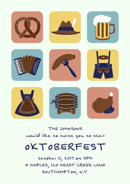 Online Invitation card for Oktoberfest celebrations with 9 classic images, e.g. beer mug, wurst, pretzel. Green.