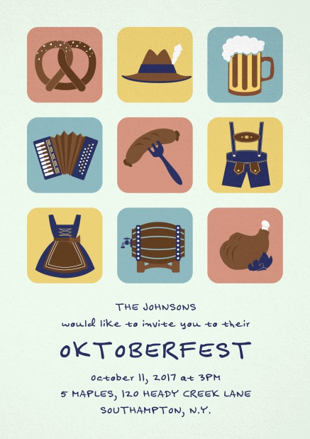 Invitation card for Oktoberfest celebrations with 9 classic images, e.g. beer mug, wurst, pretzel. Green.