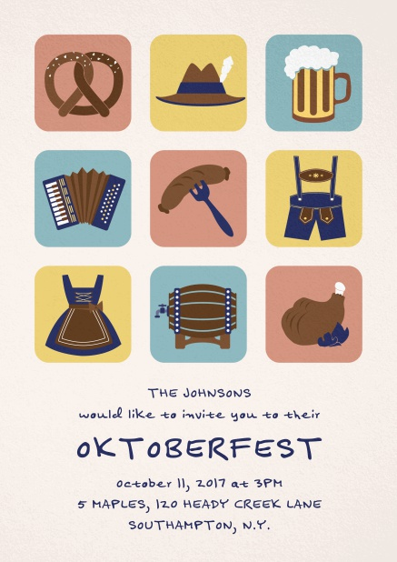 Invitation card for Oktoberfest celebrations with 9 classic images, e.g. beer mug, wurst, pretzel. Pink.