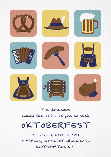 Invitation card for Oktoberfest celebrations with 9 classic images, e.g. beer mug, wurst, pretzel. White.