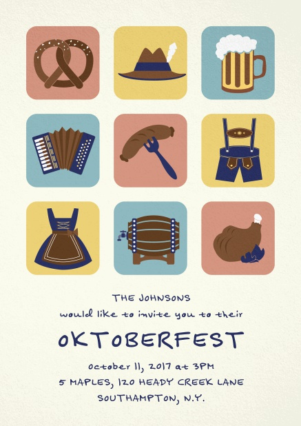 Invitation card for Oktoberfest celebrations with 9 classic images, e.g. beer mug, wurst, pretzel. Yellow.