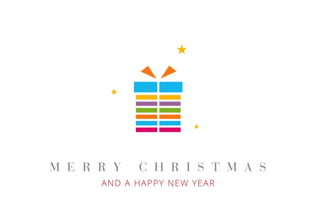 Online Christmas Card with colorful present incl. New Years Greetings.