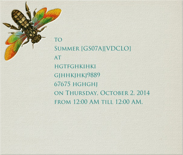 Grey Summer Wedding Card with Beetle.