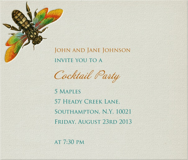 Beige summer themed Invitation Card with dragonfly.