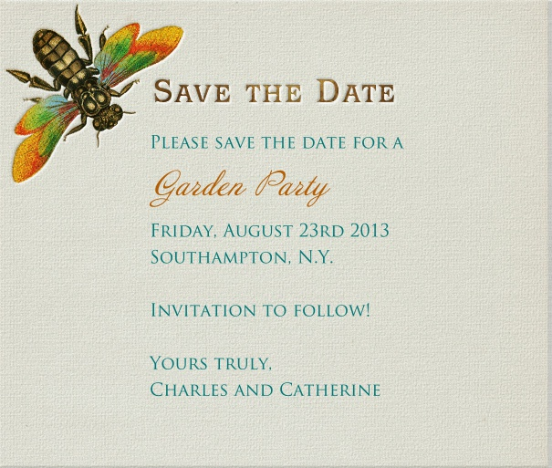 Grey Summer Themed Wedding Save the Date with Dragonfly Motif.