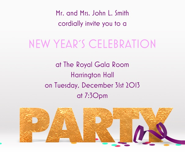 Square Themed Celebration Invitation card with Streamers and party Motif.