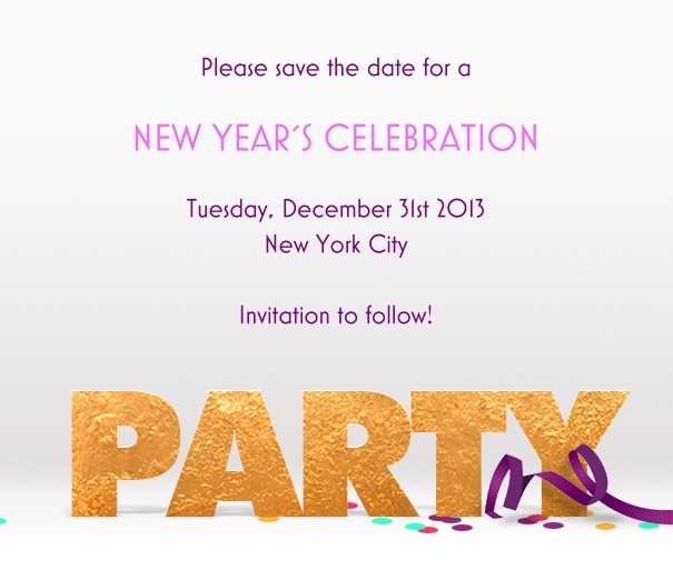 White Party Celebration Save the Date Template with Party Footer and Confetti.