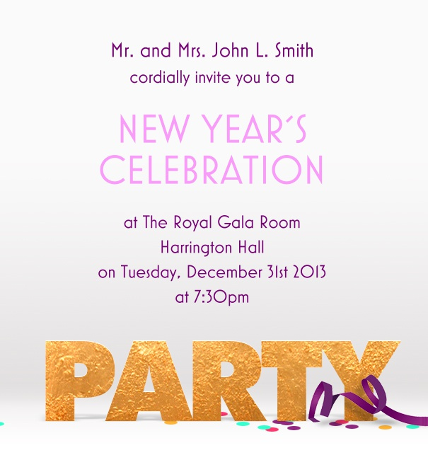 High format Themed Celebration Invitation card with Streamers and party Motif.