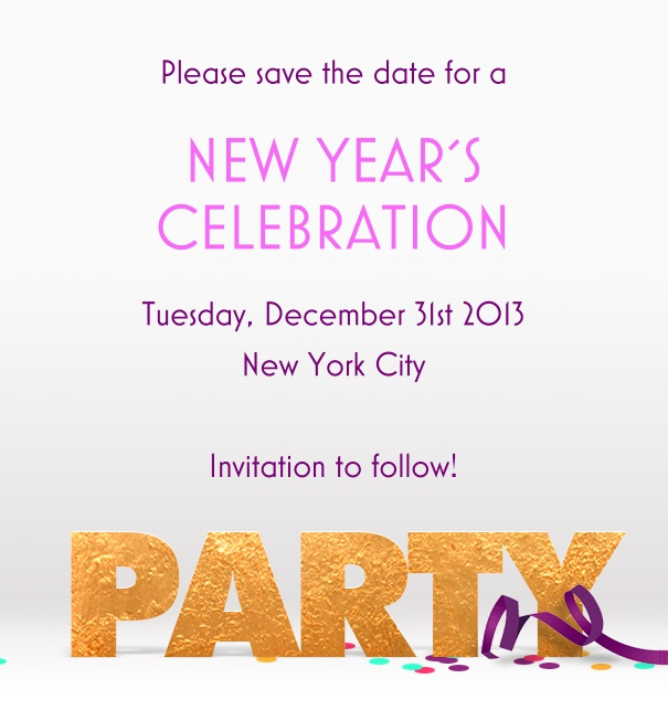 High White Party Save the Date Template with Party Footer and Confetti.
