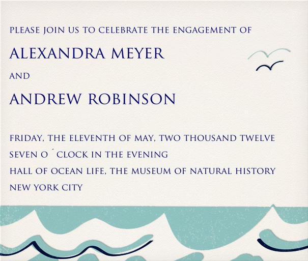 White Wedding or Engagement Invitation Template with waves motif.