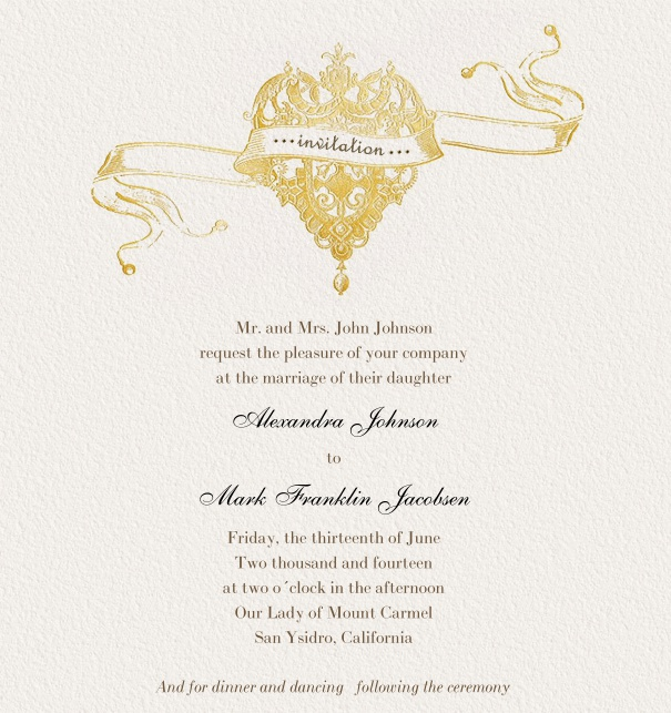 Gold Online Wedding Invitation with crown.