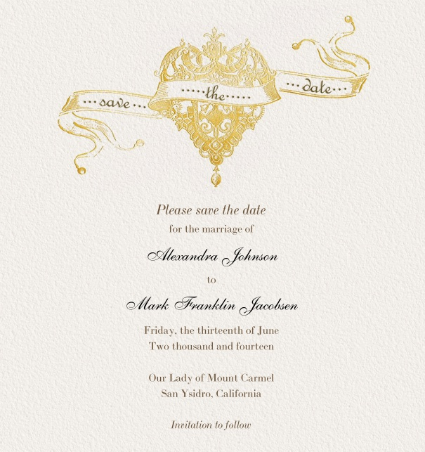 Online Save the Date Card for weddings with gold crown.