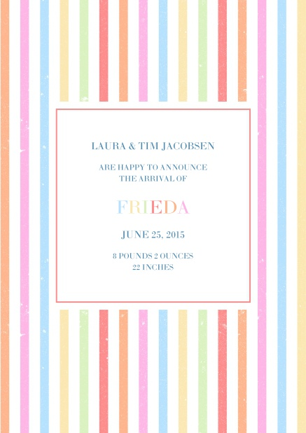 Birth announcement card with colorful stripes