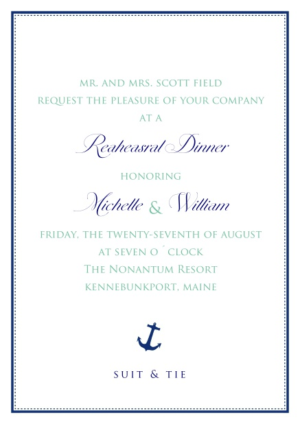 Online Wedding invitation card with frame, anchor and text.