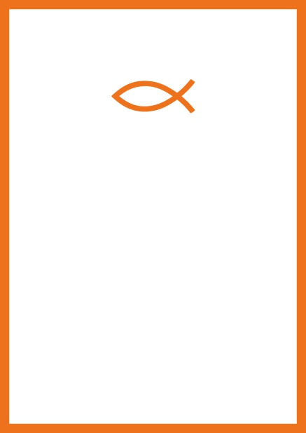 Online Confirmation invitation card with customizable color and Christian symbol on front. Orange.