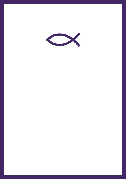 Online Confirmation invitation card with customizable color and Christian symbol on front. Purple.