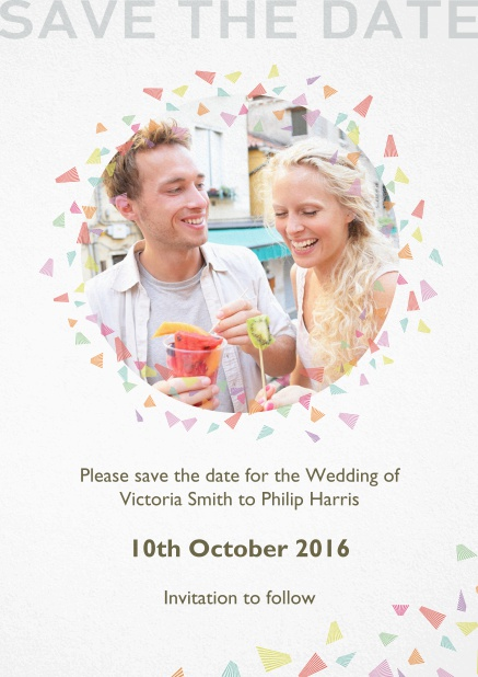 Wedding save the date card with oval photo and colorful deco.