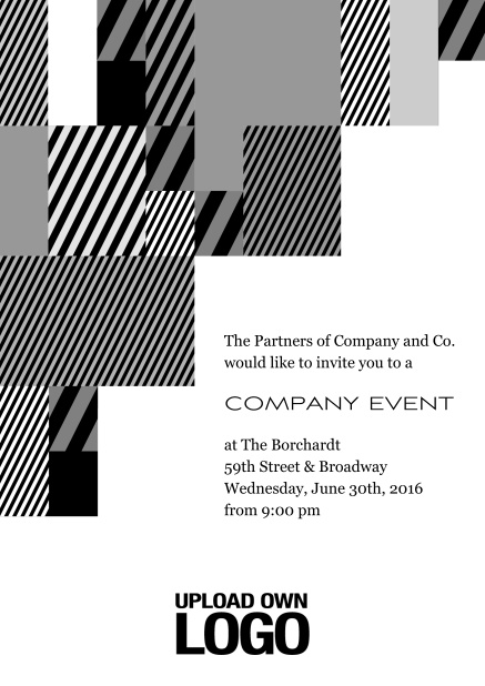 Online Corporate invitation card with modern striped box design, own logo option and text field. Black.