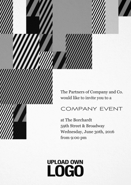 Corporate invitation card with modern striped box design, own logo option and text field. Black.