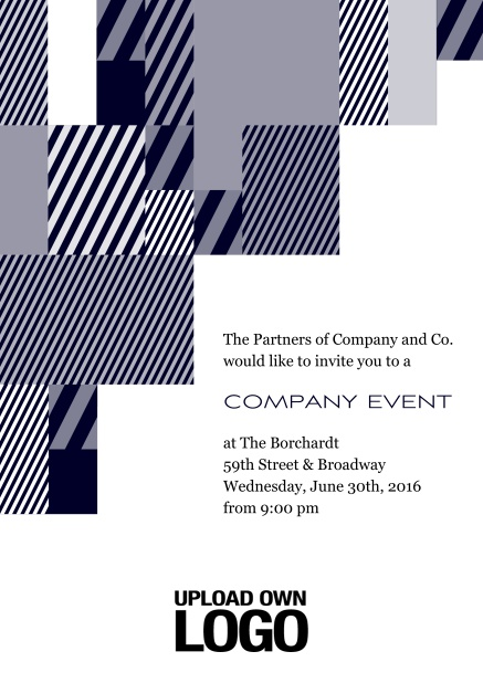 Online Corporate invitation card with modern striped box design, own logo option and text field. Blue.