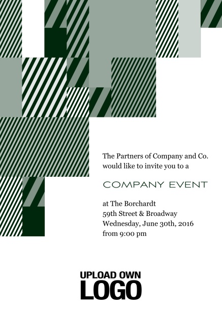 Online Corporate invitation card with modern striped box design, own logo option and text field. Green.