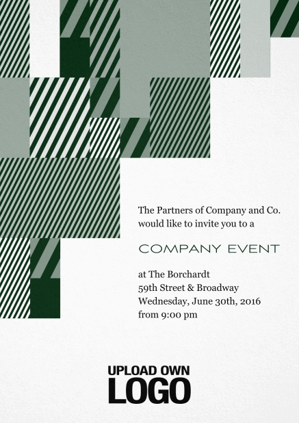 Corporate invitation card with modern striped box design, own logo option and text field. Green.