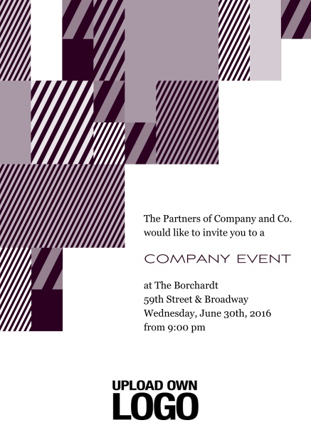 Online Corporate invitation card with modern striped box design, own logo option and text field. Red.