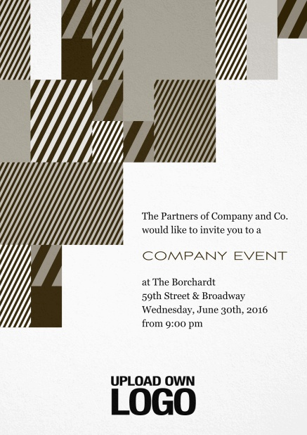Corporate invitation card with modern striped box design, own logo option and text field. Yellow.