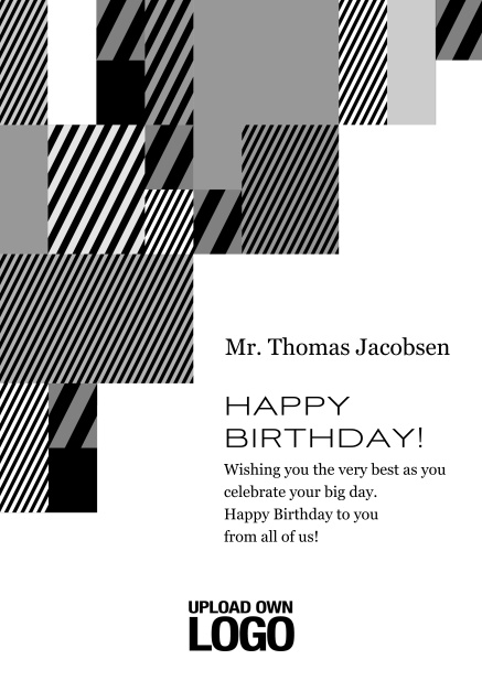 Online Corporate Birthday card with grey, silver, white and black artistic rectangular shapes. Black.