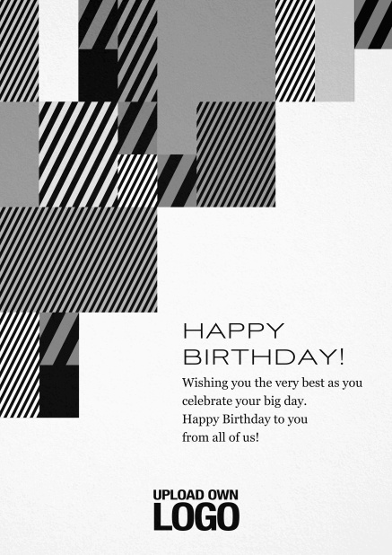 Corporate Christmas card with grey, silver, white and black artistic rectangular shapes. Black.