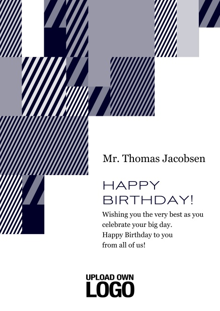 Online Corporate Birthday card with grey, silver, white and black artistic rectangular shapes. Blue.