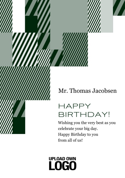 Online Corporate Birthday card with grey, silver, white and black artistic rectangular shapes. Green.