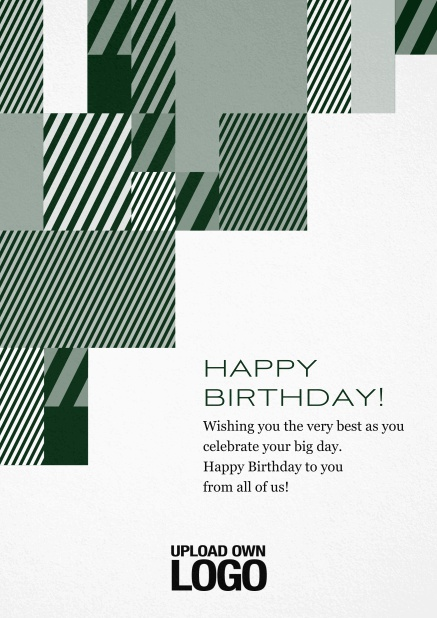 Corporate Christmas card with grey, silver, white and black artistic rectangular shapes. Green.