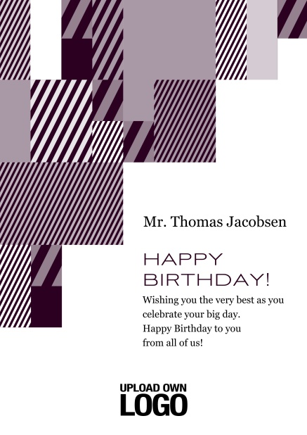 Online Corporate Birthday card with grey, silver, white and black artistic rectangular shapes. Red.