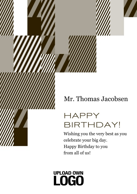 Online Corporate Birthday card with grey, silver, white and black artistic rectangular shapes. Yellow.