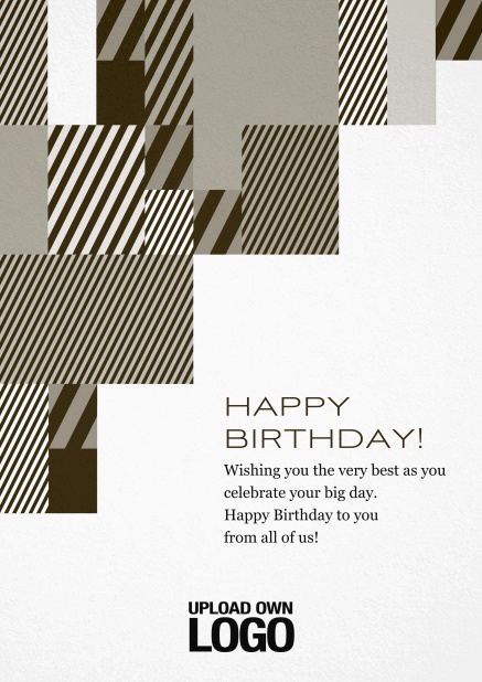 Corporate Christmas card with grey, silver, white and black artistic rectangular shapes. Yellow.