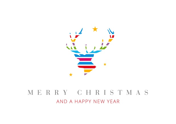 Online Christmas Card with colorful reindeer head  incl. New Years Greetings.